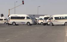 FILE: Taxis block routes in Gauteng during a strike. Picture: Kgothatso Mogale/EWN