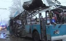 The trolley is completely destroyed by a deadly blast in Volgograd Russia. Picture: Vlad Burlutsky ‏@Vladdich.