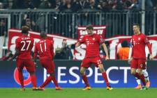 Bayern Munich players celebrate after scoring during a Uefa Champions League match on 16 March 2016. Picture: Bayern Munich/Facebook.