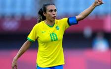 Marta's brace in Brazil's 5-0 win over China means she's the first male or female football player to score at five consecutive Olympic Games. Picture: @Tokyo2020/Twitter.