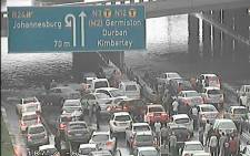 Traffic is at a standstill in Bedfordview at the Gillooly's Interchange due to flooding. Picture: Supplied.