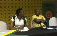 ANCYL leader Collen Maine (right) awaits the start of a press briefing. Picture: Clement Manyathela/EWN