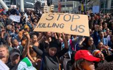 Capetonians took to the street to protest against gender-based violence on 4 September 2019. They moved from Parliament to the Cape Town International Convention Centre where the World Economic Forum on Africa event was under way. Picture: Christa Eybers/EWN