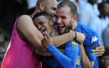 SuperSport United striker Jeremy Brockie (right) celebrates a goal with his teammates. Picture: @SuperSportFC/Twitter