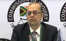 A screengrab of Yunus Carrim giving testimony at the state capture inquiry on 25 February 2020.