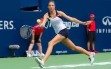 Karolina Pliskova playing in her first tournament since her shock second round defeat at Wimbledon. Picture: Twitter/@KaPliskova.