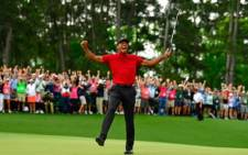 Tiger Woods celebrates his victory at the US Masters on 14 April 2019. Picture: Twitter/TheMasters