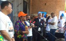 FILE. Water and Sanitation Minister Nomvula Makonyane commends the initiative by Operation Hydrate and the Nelson Mandela Foundation to supply bottled water to drought-stricken areas. Picture: Masa Kekana/EWN.