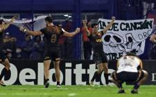 Argentina's Jaguares players celebrate after defeating Australia's Brumbies by 39-7 during their Super Rugby semifinal match at Jose Amalfitani stadium in Buenos Aires, on 28 June 2019. Picture: AFP