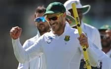 Proteas star Faf du Plessis celebrates a victory. Picture: AFP