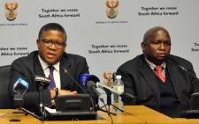 Minister of Police Fikile Mbalula announcing Lieutenant General Lesetja Mothiba as the new acting National Commissioner of Police in Cape Town on 1 June 2017. Picture: GCIS.