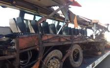 The bus involved in a multi-vehicle accident which killed 29 people on Moloto Road near Kwaggafontein in Mpumalanga. 12 November 2013. Picture: Barry Bateman/EWN.