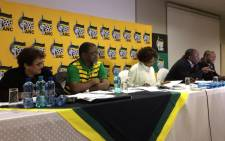 African National Congress's Secretary-General Gwede Mantashe and her deputy Jessie Duarte during a press briefing where the party was announcing its mayoral candidates for 2016 municipal elections on 18 June 2016. Picture: MyANC official Facebook page.