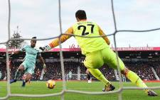 Arsenal's Pierre-Emerick Aubameyang scores in a match against AFC Bournemouth. Picture: @Arsenal/Twitter.