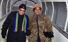 President Jacob Zuma, accompanied by first Lady Bongi Ngema-Zuma arrive in Davos, Switzerland, for the World Economic Forum. Picture: GCIS.