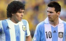 Legendary Argentinian footballers Diego Maradona (L) and Lionel Messi. Picture: Facebook.