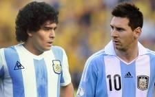 Argentinian footballers Diego Maradona (L) and Lionel Messi. Picture: Facebook.com