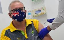 Australia's Prime Minister Scott Morrison receives a dose of the Pfizer/BioNTech COVID-19 vaccine at the Castle Hill Medical Centre in Sydney on 21 February 2021. Picture: Steven Saphore/AFP