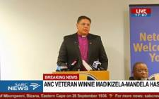 A screengrab of the ANC briefing the nation on Winnie Madikizela-Mandela's death.
