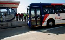 A Rea Vaya bus arrives ahead of its maiden journey at Westgate Station in Johannesburg on 30 August 2009. Picture: Werner Beukes/Sapa