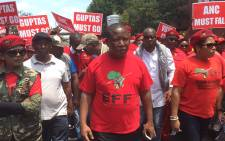 EFF leader Julius Malema leads a march through the Johannesburg CBD. Picture: Vumani Mkhize/EWN.