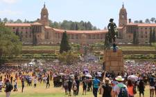 Students arrive at the Union Buildings where President Jacob Zuma will meet with management of universities and student leaders. Picture: Christa Eybers/EWN.