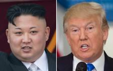 A combination of file photos of North Korean leader Kim Jong-Un and US President Donald Trump. Picture: AFP.