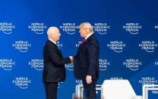 Klaus Schwab, founder and executive chairman, World Economic Forum, and President Donald Trump, President of the United States of America, speaking in special address by Trump at the World Economic Forum Annual Meeting 2020 in Davos-Klosters on 21 January 2020. Picture: World Economic Forum/Sikarin Fon Thanachaiary