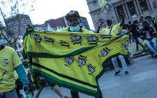 A supporter at the launch of the ANC elections manifesto at Church Square in Pretoria on 27 September 2021. Picture: Abigail Javier/Eyewitness News
