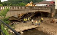 Portion of old bridge under repair collapses in Pennsylvania. Picture: CNN/screen grab
