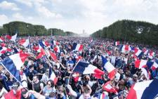 Hundreds of thousands of ecstatic French fans celebrating the return of their World Cup winning football team. Picture: @equipedefrance/Twitter