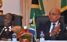 President Jacob Zuma and President Robert Mugabe at the 30th Jubilee Summit of SADC in Namibia. Picture: Yolande Snyman/GCIS