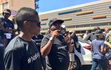 Members of the Not in My Name campaign, Taxify and Uber drivers took a stand against the murder of 21-year-old Siyabonga Ngcobo. Picture: Katleho Sekhotho/EWN