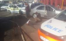 JMPD K9 have recovered a white Polo car on Golden Highway which was hijacked in Yeoville recently. Picture: Supplied.