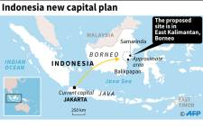 A map of Indonesia showing the approximate area of the proposed site of the country's new capital. Picture: AFP