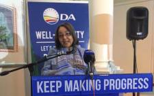 The DA's Cape Town mayoral candidate Patricia de Lille at the launch of the party's manifesto for the city. Picture: Xolani Koyana/EWN
