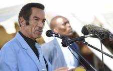 FILE: Botswana former president Ian Khama Sereste delivers a speech to announce his departure from the Botswana Democratic Part (BDP) which has ruled since independence more than half a century ago, on 25 May 2019. Picture: AFP