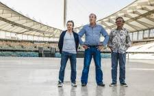 Top Gear presenters, with recently fired Jeremy Clarkson while on their tour to South Africa, in Durban. Picture: Jeremy Clarkson via Twitter.