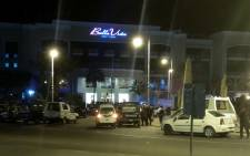 A picture taken by smartphone shows the Bella Vista hotel in the Red Sea resort of Hurghada on 8 January, 2016, after the hotel came under attack, leaving three European tourists wounded before the security forces shot dead an assailant and wounded another. Picture: AFP.