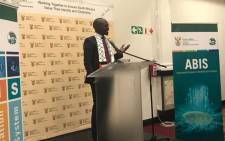 Home Affairs Minister Malusi Gigaba addresses the media during the launch of the automated biometric identification system, on 16 May 2018. Picture: Kaylynn Palm/EWN