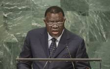 FILE: Namibian president Hage Geingob addresses the general debate of the UN General Assembly's seventy-first session on 21 September 2016. Picture: UN Photo