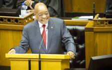 Former President Jacob Zuma responding with laughter to a debate in Parliament. Picture: Thomas Holder/EWN.