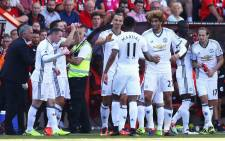 Manchester United team celebrates after beating Bournemouth 3-1. Picture: @ManUtd.Manchester United team. Picture: @ManUtd.""