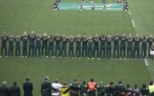 FILE: The Springboks sing the National Anthem at a game at Ellis Park Stadium in Johannesburg. Picture: Christa Eybers/EWN.