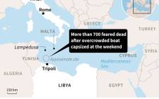 Map showing the Mediterranean where more than 700 migrants are feared dead after their boat keeled over at the weekend.
