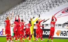 Royal Antwerp players celebrates after winning the UEFA Europa League football Group J first-leg football match between Royal Antwerp FC and Tottenham Hotspur FC at the Bosuilstadion in Antwerp on 29 October 2020. Picture: @official_rafc/Twitter
