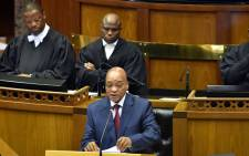 President Jacob Zuma addressing a joint sitting of Parliament during the State of the Nation Address in Cape Town on 12 February 2015. Picture: GCIS.