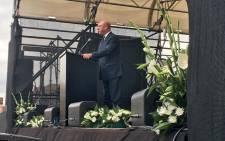Former Finance Minister Trevor Manuel gives a keynote address on the life of Ma Winnie at Constitution Hill, Johannesburg on 9 April 2018. Picture: Katleho Sekhotho/EWN