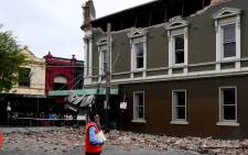A general view shows a damaged building in the popular shopping Chapel Street in Melbourne on September 22, 2021, after a 5.9 magnitude earthquake. Picture: William West/AFP.
