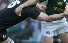 The All Blacks in action against their traditional foes, the Springboks.